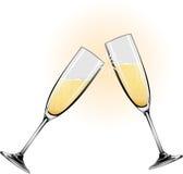 champagneexponeringsglasillustration Arkivfoto