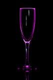 Champagneexponeringsglasrosa färger Arkivbild