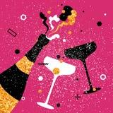 Champagneflöjter och flaska Gladlynt ferie alkoholiserada drycker Partiberöm royaltyfri illustrationer