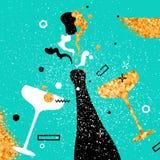 Champagneflöjter och flaska Gladlynt ferie alkoholiserada drycker Partiberöm vektor illustrationer