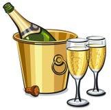 Champagneflaska i hink stock illustrationer