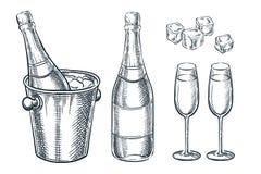 Champagneflaska i hink med is och två exponeringsglas Vektorn skissar illustrationen För feriedesign för hand utdragna beståndsde royaltyfri illustrationer