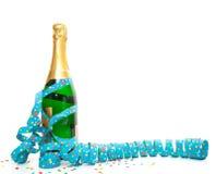 Champagneflaska med partibanderollen arkivbilder