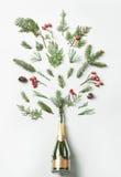 Champagneflaska med vinterfärgstänklövverk på vit bakgrund Lekmanna- lägenhet Champagne med den isolerade flygballonger och santa Royaltyfri Fotografi