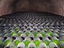 Champagneflaskor som lagras i en källare Royaltyfri Bild
