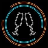 Champagneflasksymbol - drinkalkohol royaltyfri illustrationer