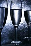 Champagnefluitexponeringsglas Arkivfoton