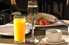 Champagnefrukost Royaltyfri Fotografi