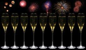 champagnefyrverkerier royaltyfria foton