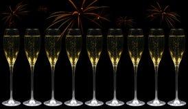 champagnefyrverkerier royaltyfri foto