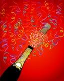Champagneherausspringender Confetti Lizenzfreie Stockbilder