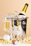 Champagneis ösregnar och crystal exponeringsglas Royaltyfri Fotografi