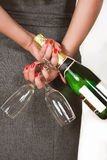 champagnekvinna Arkivbilder