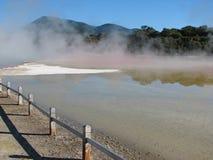 Champagnepölen i den Wai-O-Tapu thermalen parkerar, Nya Zeeland arkivfoto