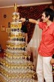 champagnepyramid Arkivbilder