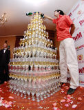champagnepyramid Royaltyfri Fotografi