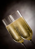 Champagner. Photo of christmas new year champagner glasses in front of rural background Stock Image