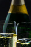 Champagner bottle with two glasses Stock Photos
