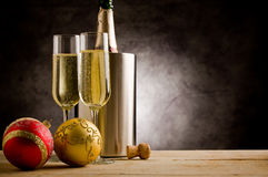 Champagner with Christmas Balls Royalty Free Stock Image