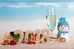 Champagner der Aufschrift 2018, der Flasche und des Glases des neuen Jahres, Schneemann, Stockfotos
