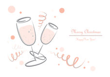 Champagner glasses - New Years Eve - Merry Christmas. Graphic for Cards with champaigne glasses stock illustration