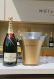 Champagner Moet und Chandon stellte sich in der nationalen Tennis-Mitte während US Open 2014 dar Lizenzfreie Stockfotografie