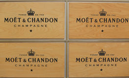Champagner Moet und Chandon stellte sich in der nationalen Tennis-Mitte während US Open 2014 dar Lizenzfreies Stockbild