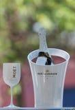 Champagner Moet und Chandon stellte sich in der nationalen Tennis-Mitte während US Open 2014 dar Stockbild