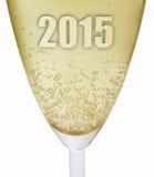2015 Champagnerglas des neuen Jahres Stockbild