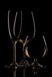 Champagnevin- och whiskyexponeringsglas på mörk bakgrund Royaltyfri Foto