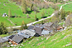 Champagny en Vanoise. View over Champagny en Vanoise roofs Royalty Free Stock Images