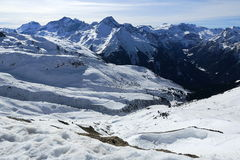 Champagny, Winter landscape in the ski resort of La Plagne, France Royalty Free Stock Photos