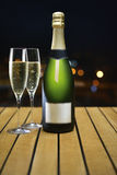 Champaign. Bottle and 2 glasses royalty free stock image