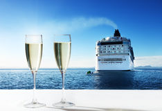 Champaign and  cruise ship Stock Photo