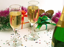 Champaign and gift. Stock Photography