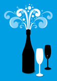 Champaign with glasses cartoon  Royalty Free Stock Image