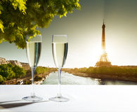 Champaign Glasses and  Eiffel tower Royalty Free Stock Image