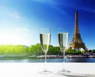 Champaign Glasses and  Eiffel tower Stock Images