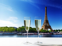 Champaign Glasses and Eiffel tower in Paris Royalty Free Stock Photography