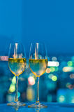 Champaign glasses in front of a window Stock Image