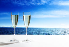 Champaign Glasses and ocean. Champaign Glasses and open ocean stock photos