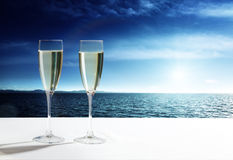 Champaign Glasses. And open ocean royalty free stock image