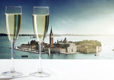 Champaign Glasses. Of champaign Glasses and Venice royalty free stock photography