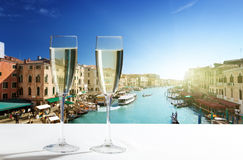 Champaign Glasses. And Venice, Italy stock images