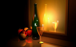 Champaign's and fruits.  Royalty Free Stock Photos