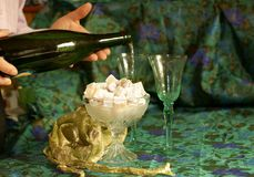 Champaign and Turkish Delight Royalty Free Stock Photos