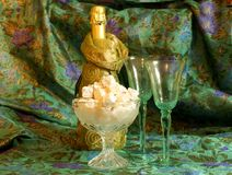 Champaign (champagne)and Turkish delight Stock Photos