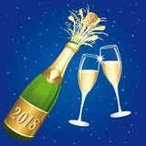 2018 Champaign vector toast. Congratulations or happy new year illustration on ablue starry night background Royalty Free Stock Photos