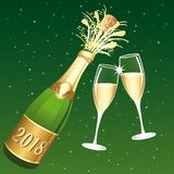 2018 Champaign vector toast III. Congratulations or happy new year illustration on ablue starry night background Stock Photo