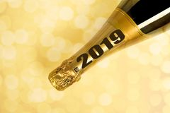 Champain bottle with 2019 new year. On the bottle stock photos